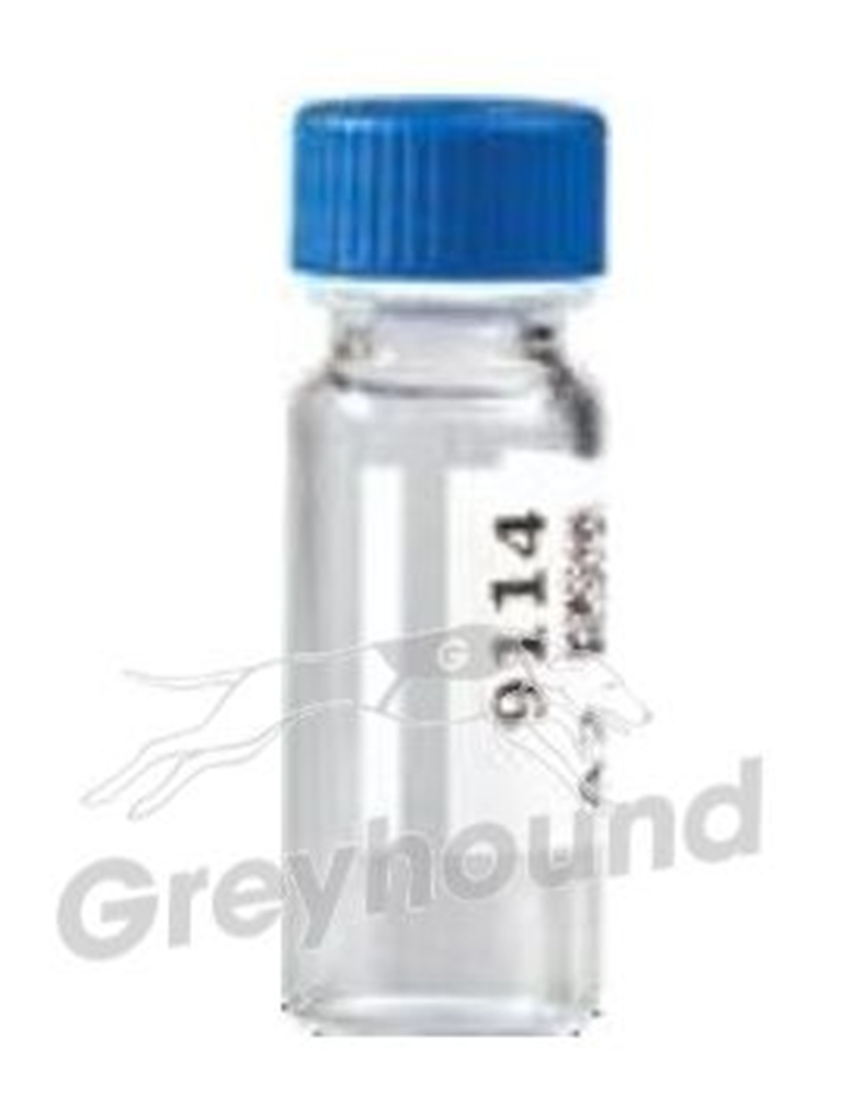 Picture of Virtuoso 2mL Screw Top Wide Neck Vial and Cap Combination Pack - Clear Glass with V-Patch and 9mm Open Blue Cap with Blue PTFE/White Silicone, Pre-slit Liner
