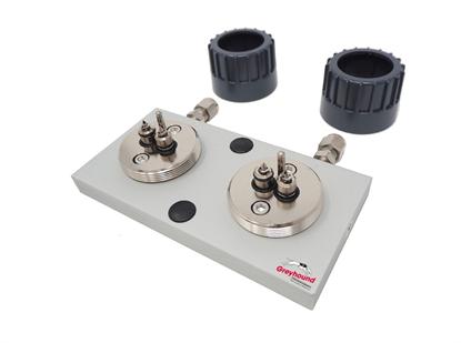 "Trajan Gas Filter Cartridge Base Plate, 1/4"" S/S, High Flow (2 position)"
